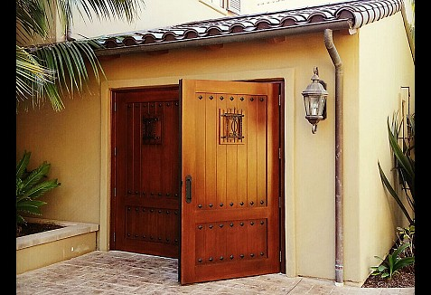 Faux Stained Composite Garage Doors And Out Swing Carriage