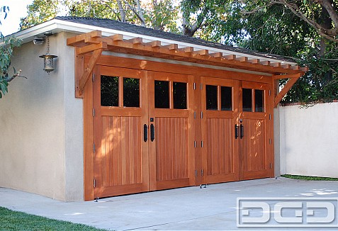 Craftsman Style Carriage Doors Crafted in Solid Mahogany ...