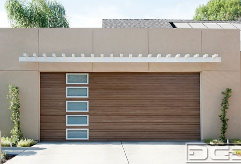 Modern architectural garage doors manufactured in for Composite wood garage doors
