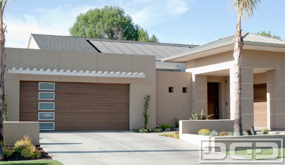 Modern Garage Doors modern style garage doors & matching entry doors in composite wood
