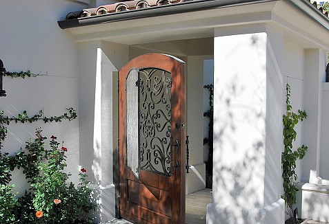 Courtyard Entry Gates In Wrought Iron Glass Amp Solid Wood