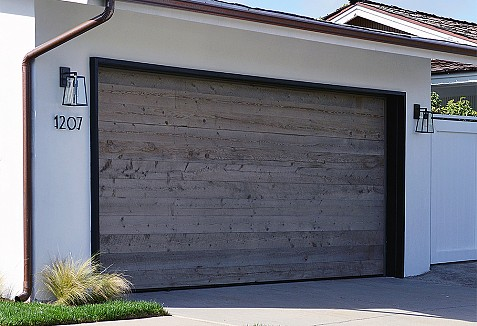 Vintage wood garage doors custom manufactured in orange for Farmhouse garage doors