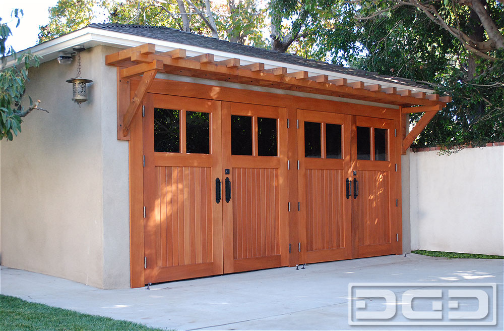 Craftsman Style Carriage Doors Crafted In Solid Mahogany