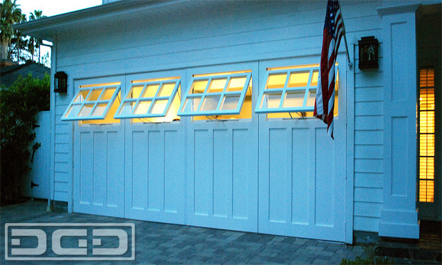 carriage garage door ideas with functional awning windows