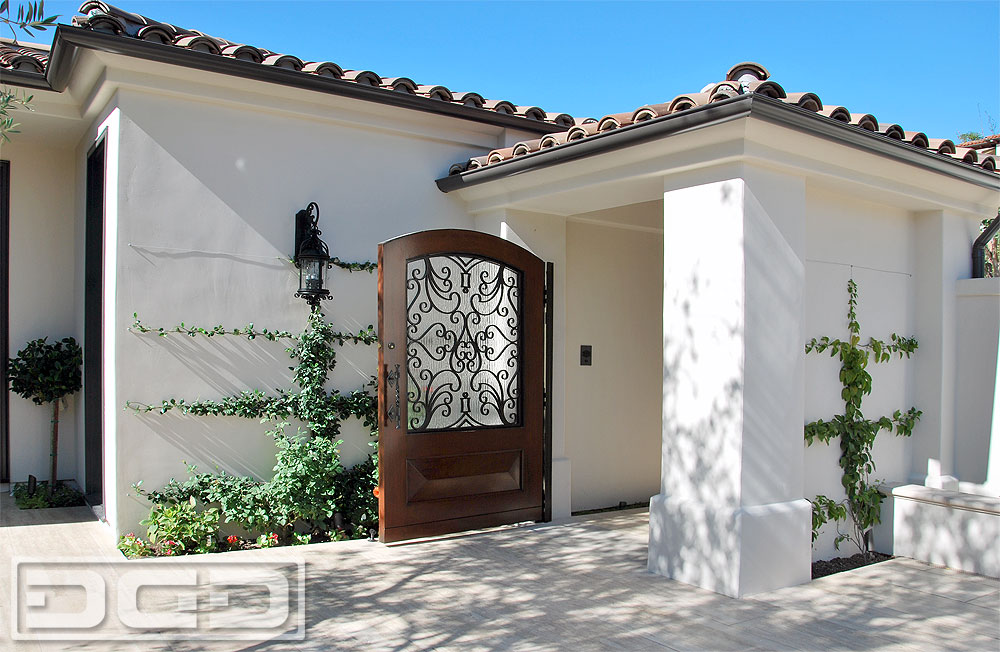 Orange county customized mediterranean style courtyard for European garage doors