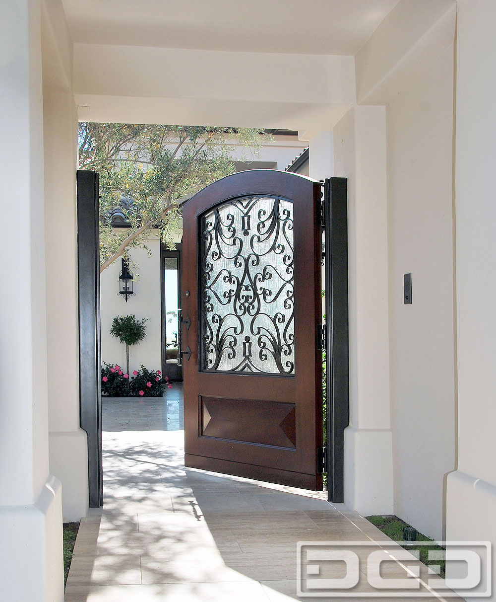Mediterranean Style Wood Courtyard Gates Custom Made By