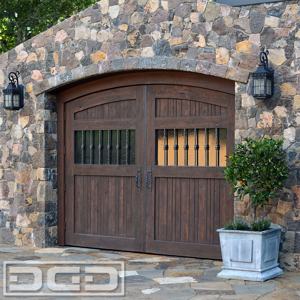 Rustic style wooden carriage garage doors made in for Garage doors styles
