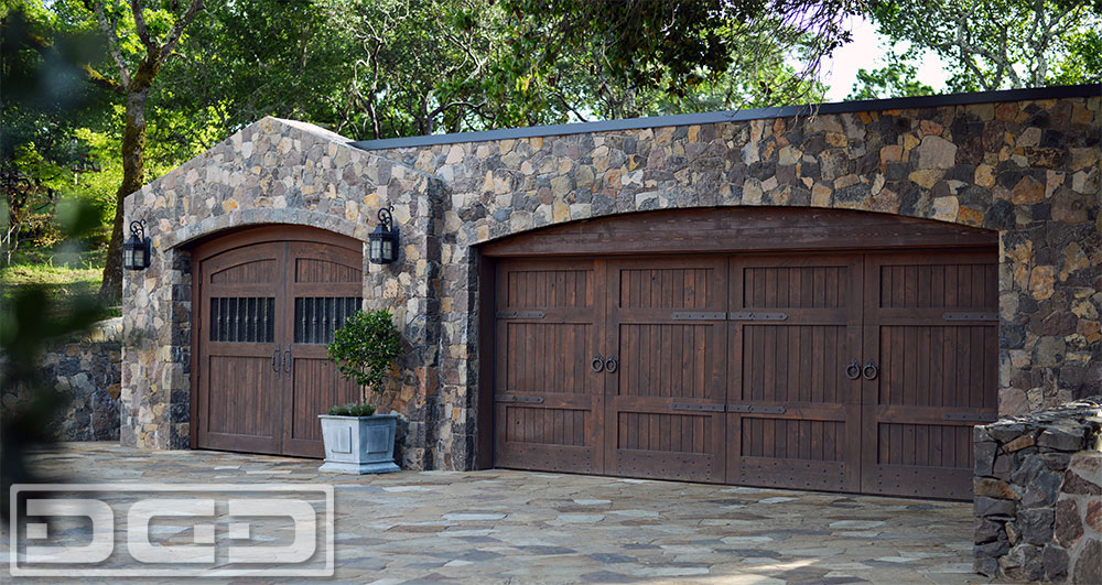 Rustic style wooden carriage garage doors made in for European garage doors